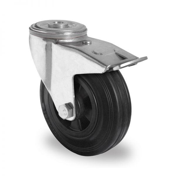 Transportrollen Möbelrollen Schwerlastrollen Rückenloch Bremsrollen 125 mm
