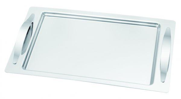 18/10 Edelstahl Serviertablett rechteckig Tablett 48 x 31,5 cm