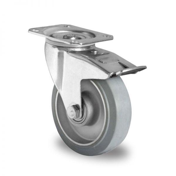 Schwerlastrollen 100 mm Vollgummi Rad 750kg Tragkraft Transportrollen Bremsrolle