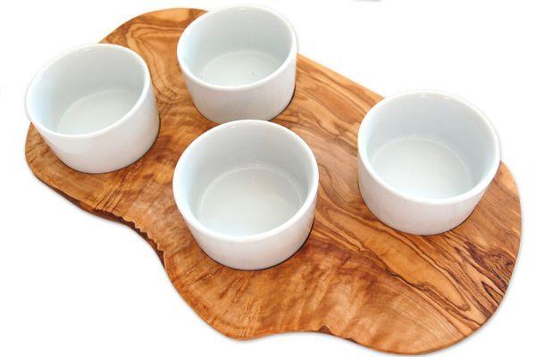 Servierbrett für Dips aus Olivenholz inkl. 4 Porzellanschälchen