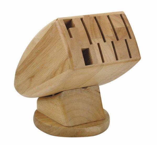 Messerblock ohne Messer Holz Natur für 9 teiliges Messerset Wetzstahl