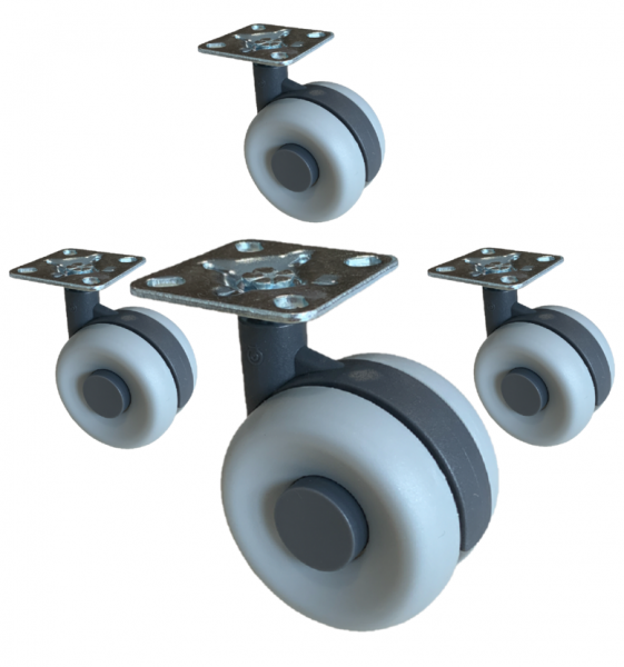 4 x Doppelrollen 60 mm Lenkrollen Kunststoff Bremsrollen Transportrollen ROBBY
