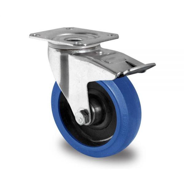 Blue Wheels Transportrollen 160 mm Vollgummi Rad Rolle Schwerlastrollen Bremsrolle