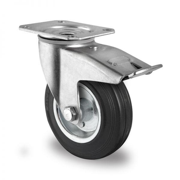 Transportrollen Lenkrollen Schwerlastrollen Vollgummi Rad Bremsrolle 80 mm