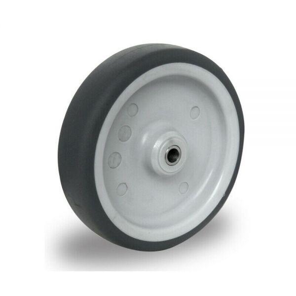 Ersatzrad 125 mm Edelstahl Gummi Rad Rolle Räder Einbaurad inkl. Achsmaterial