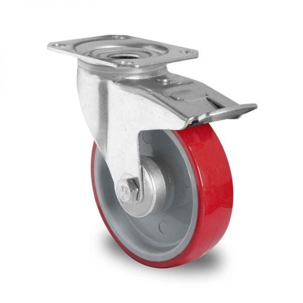 Transportrollen Polyurethan Schwerlastrollen 100 mm Bremsrolle Möbelrolle