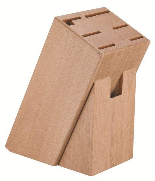 Messerblock ohne Messer Natur Buche Holz für 7 teiliges Messerset Wetzstahl