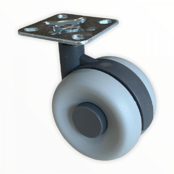 Doppelrollen Kunststoff 60mm Design Lenkrollen Bremsrollen Transportrollen ROBBY
