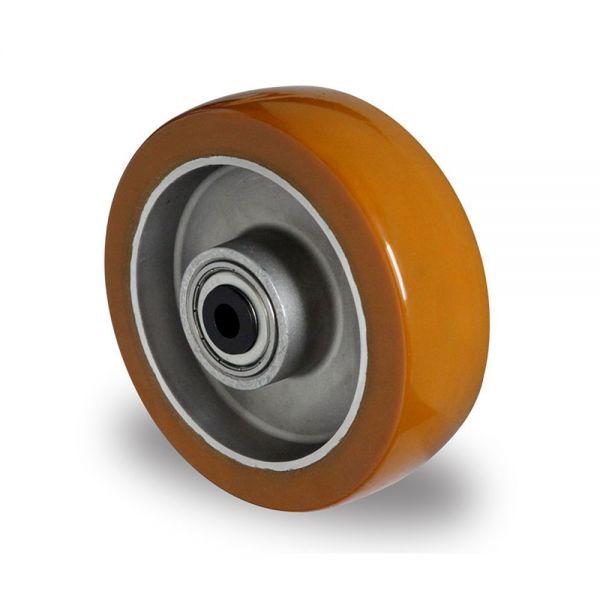 Schwerlastrad Polyurethan Rad 100 mm Aluminium Felge Rolle Räder INKL Montageset