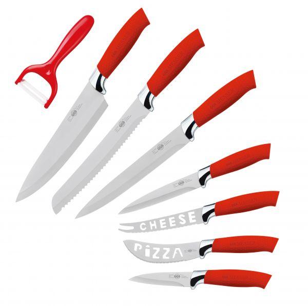 Messerset 8-teilig Küchenmesser Sparschäler Kochmesser Brotmesser Allzweck