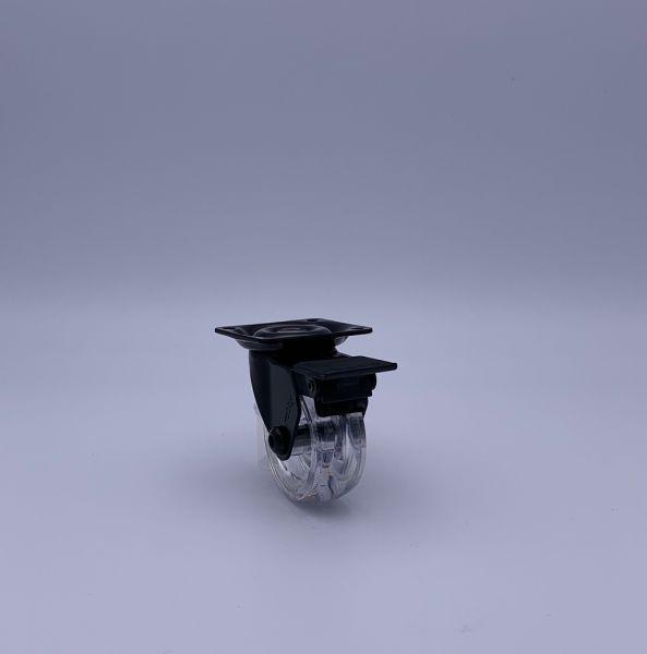 Design Möbelrollen transparent 50mm Lenkrollen Bremsrollen Transportrollen ROBBY