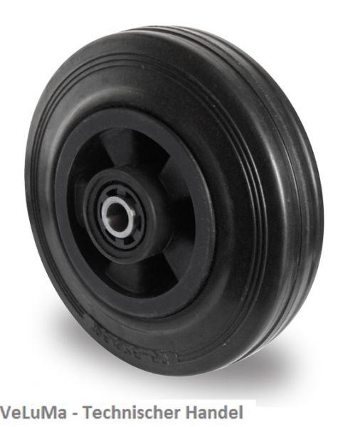 Ersatzrad Transportrad Rad Rolle Einbaurad, Ø 125 mm, Vollgummi, schwarz