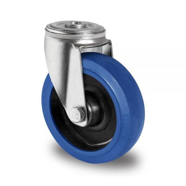 Blue Wheels Transportrollen 125 mm Vollgummi Rad Rolle Schwerlastrollen Lenkrolle