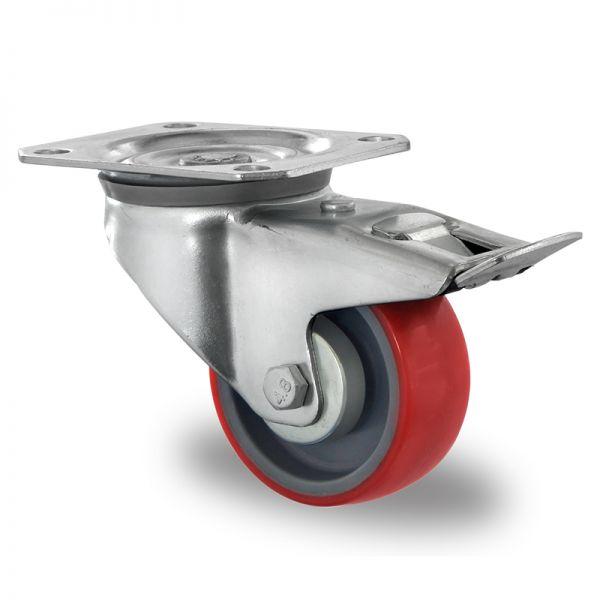 Transportrollen Polyurethan Schwerlastrollen 80 mm Bremsrolle Möbelrolle
