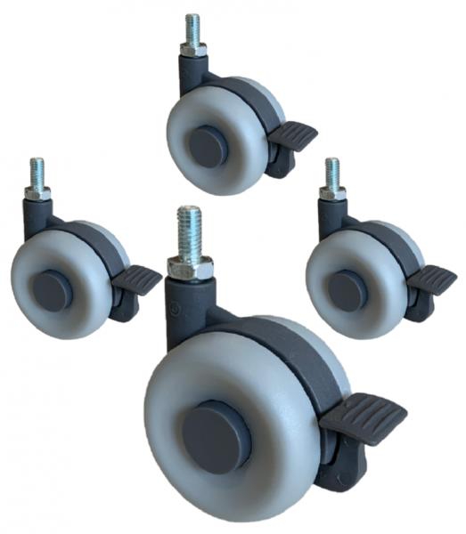 4 x Doppelrollen Kunststoff 60 mm Möbelrollen Bremsrollen Transportrollen ROBBY