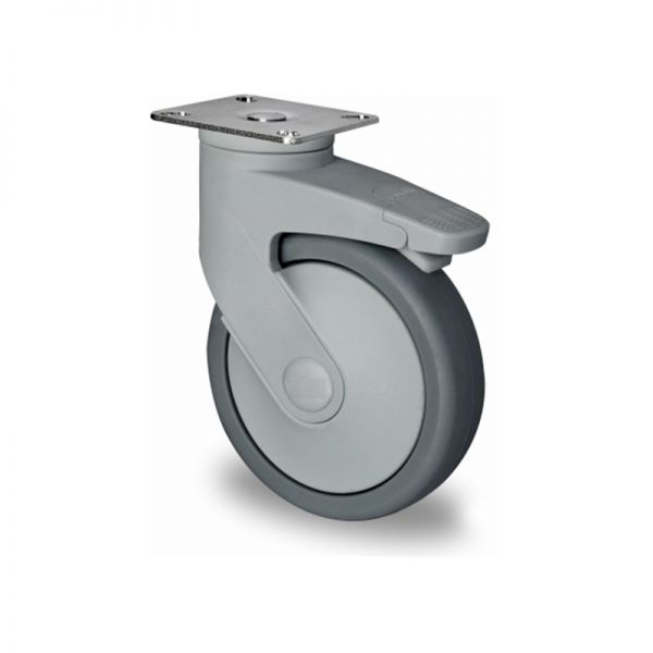Lenkrolle mit Total-Feststeller, Kunststoffrolle, Ø 125 mm, Gummi Rad
