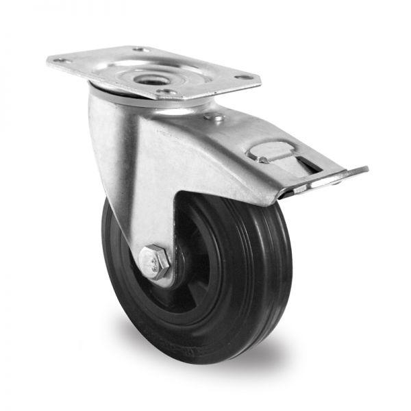 Transportrollen Möbelrollen Schwerlastrollen Bremsrollen 125 mm, Vollgummi