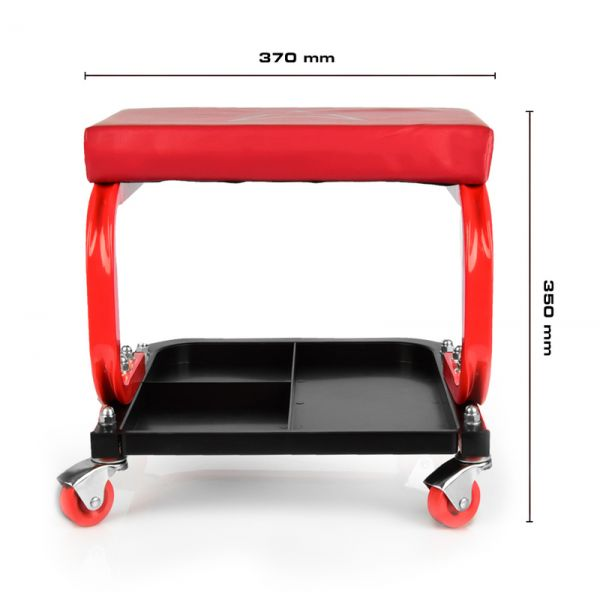 RACEFOXX Gepolsteter Werkstatthocker Montagehocker Boxenstuhl mit Ablagefach