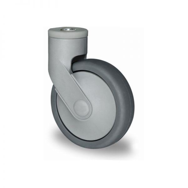 Rückenloch-Lenkrolle, Kunststoffrolle, Ø 100 mm, Gummi Rad