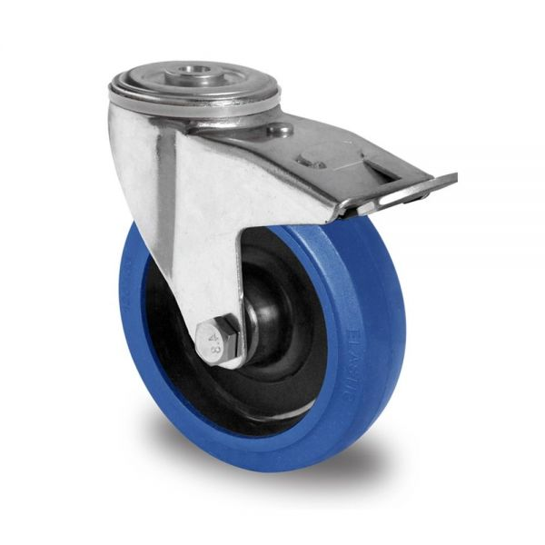 Blue Wheels Transportrollen 80 mm Vollgummi Rad Rolle Schwerlastrollen Bremsrolle