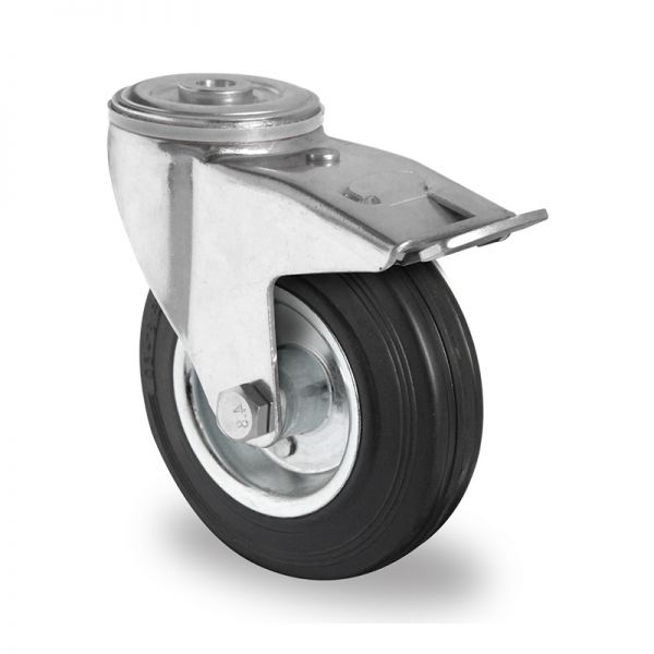 Transportrollen Vollgummibereifung 100mm Gummibereifung Rückenloch Lenkrolle mit Bremse