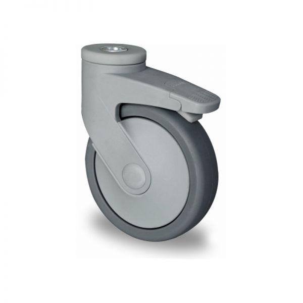 Rückenloch-Lenkrolle mit Total-Feststeller, Kunststoffrolle, Ø 100 mm, Gummi Rad