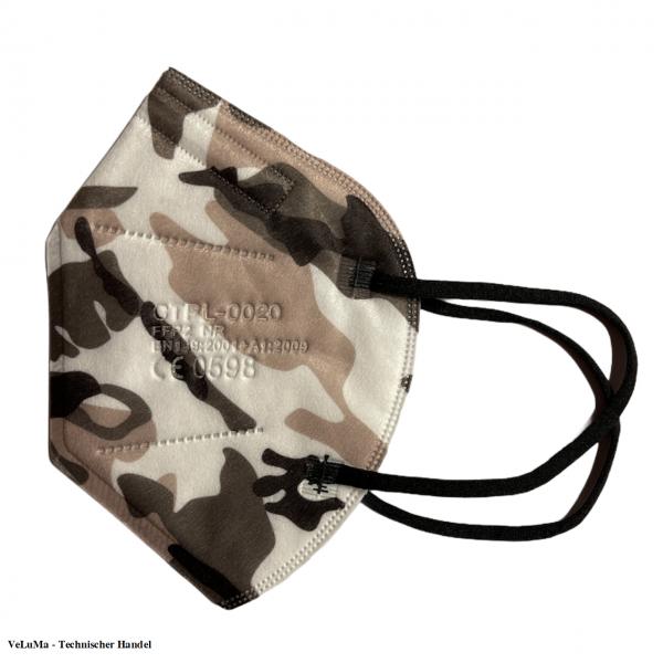 5 x FFP2 Maske Camouflage 5 lagig Mundschutz Atemschutz Deutscher Händler CE