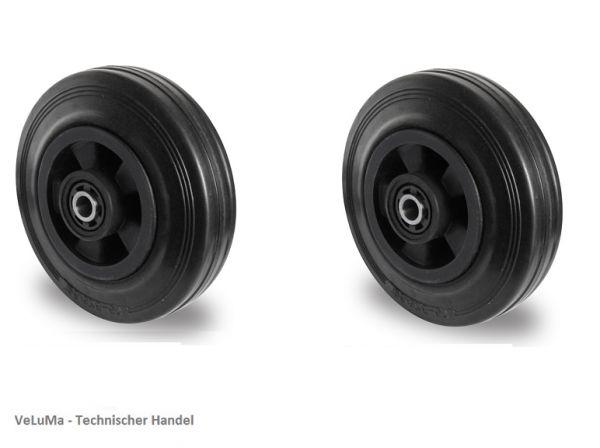 Ersatzrad Transportrad Rad Rolle Einbaurad, Ø 200 mm, Vollgummi, schwarz