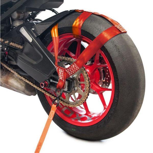 Hinterrad Abspanngurt Zurrgurt Spanngurt Gurt Motorrad rot