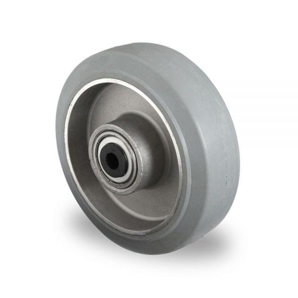 Schwerlastrad Vollgummi Rad 125 mm Aluminium Felge Rolle Räder INKL Montageset