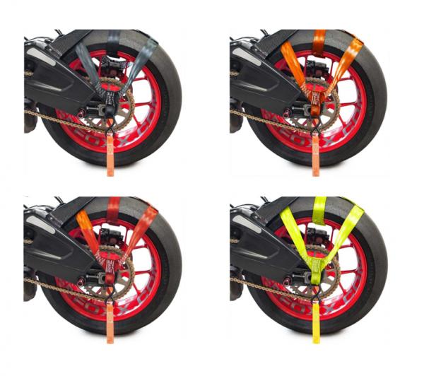 Hinterrad Abspanngurt Zurrgurt Spanngurt Gurt Motorrad schwarz rot orange gelb