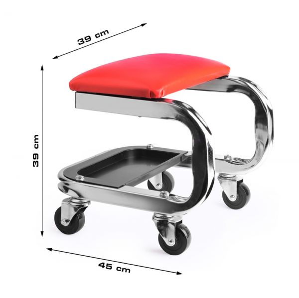 RACEFOXX Werkstatthocker Montagehocker Boxenstuhl bis 150 KG mit Ablagefach