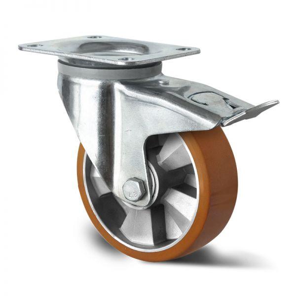 Schwerlastrollen Transportrollen 125 mm Polyurethan Rad Lenkrolle mit Bremse