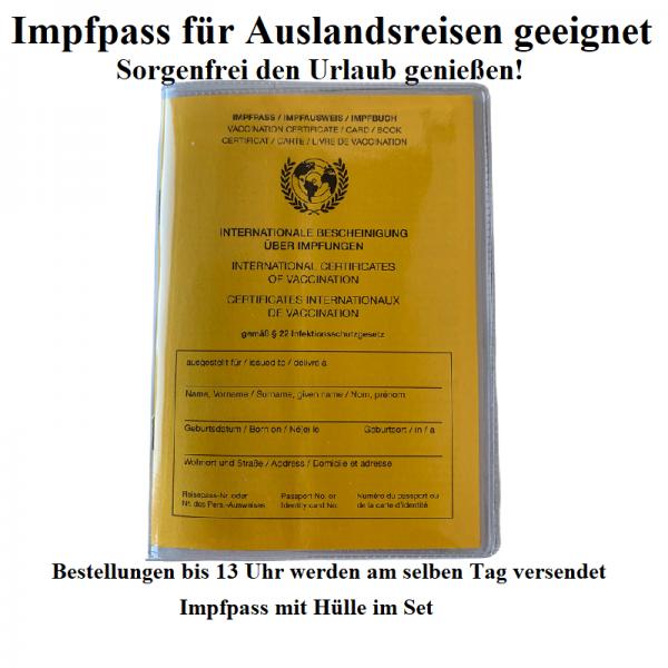 Impfpass International WHO Impfausweis Impfbuch mit Zusatzseite COVID-19 + Hülle