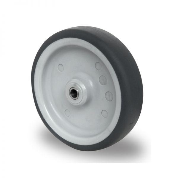Ersatzrad 200 mm Edelstahl Gummi Rad Rolle Räder Einbaurad inkl. Achsmaterial