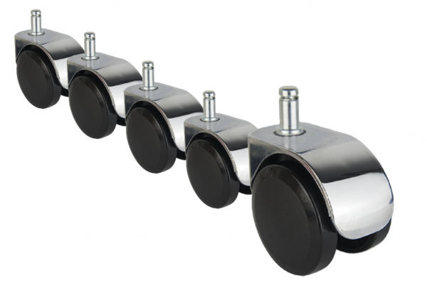 5x Design Möbelrolle 50mm Chrom Möbelrollen Stuhlrolle Bürostuhl Transportrollen