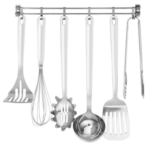 Edelstahl Küchenhelfer Set Kochutensilien Küchenutensilien 7 tlg. zum aufhängen