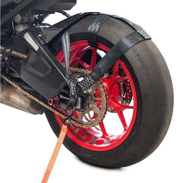 Hinterrad Abspanngurt Zurrgurt Spanngurt Gurt Motorrad schwarz rot orange