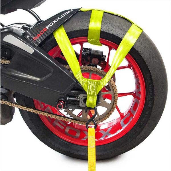 Hinterrad Abspanngurt Zurrgurt Spanngurt Gurt Motorrad gelb