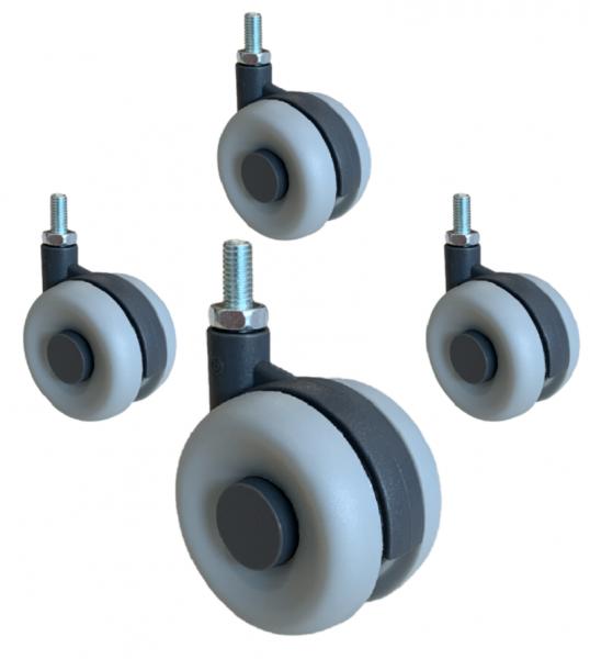 4x Design Doppelrollen Kunststoff 60mm Lenkrolle Bremsrolle Transportrolle ROBBY
