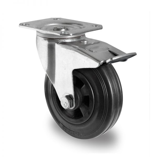 Transportrollen Möbelrollen Schwerlastrollen Bremsrollen 200 mm, Vollgummi