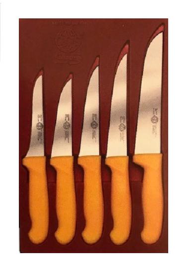 Messerset 5 tlg. Küchenmesser Allzweck Fleischer Metzgerei Brotmesser gelb