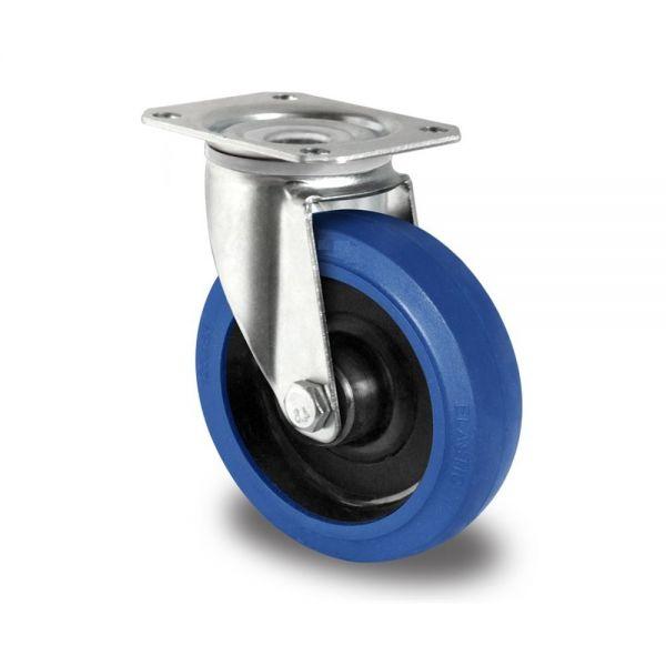 Blue Wheels Transportrollen 100 mm Vollgummi Rad Rolle Schwerlastrollen Lenkrolle