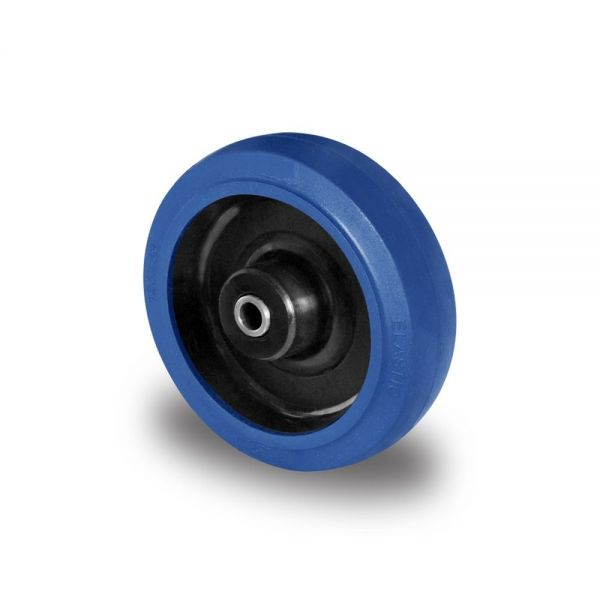 Transportrollen Blue wheels Vollgummi Rad 160mm Ersatzrad Rolle inkl. Montageset