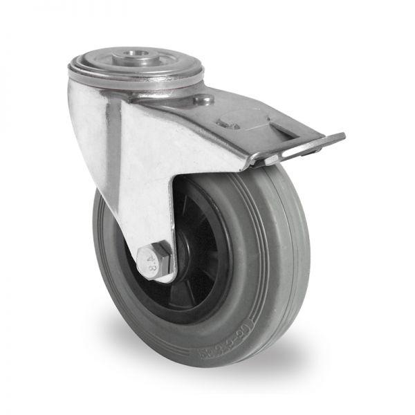 Transportrollen 200 mm Möbelrollen Schwerlastrollen Rückenloch Bremsrolle
