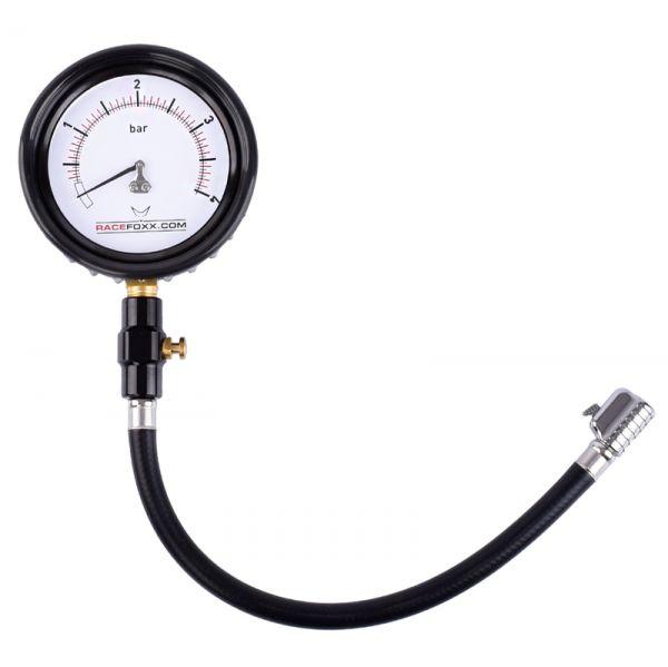 RACEFOXX Profi Luftdruckprüfer Luftdruckmesser Reifendruckprüfer Messgerät Luft