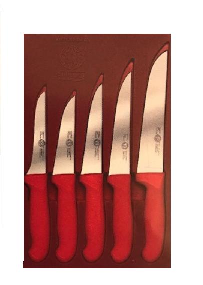 Messerset 5 tlg. Küchenmesser Allzweck Fleischer Metzgerei Brotmesser rot