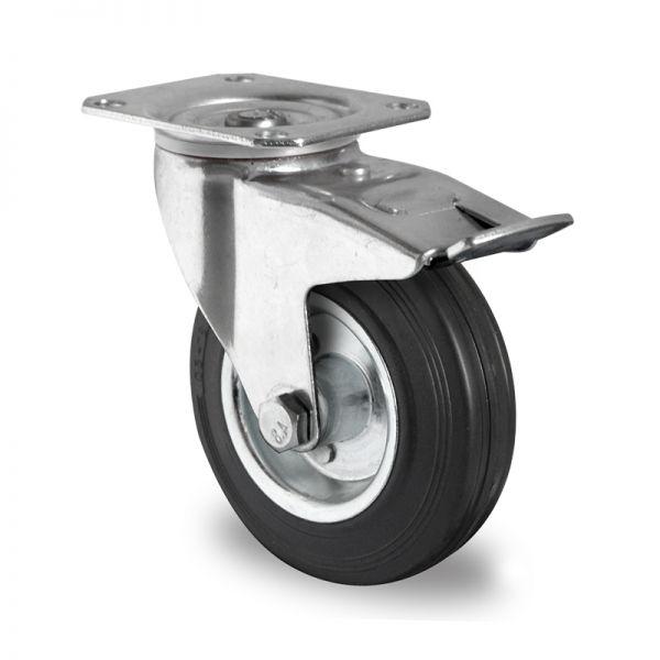 Transportrollen Lenkrollen Schwerlastrollen Vollgummi Rad Bremsrolle 200 mm