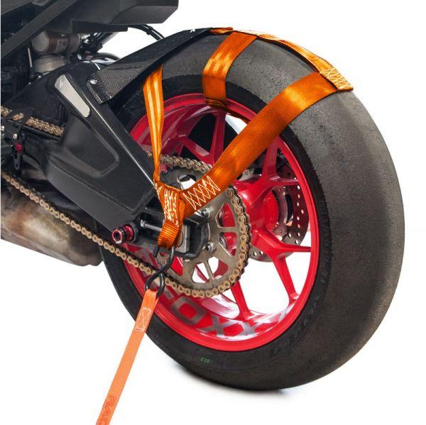 Hinterrad Abspanngurt Zurrgurt Spanngurt Gurt Motorrad orange