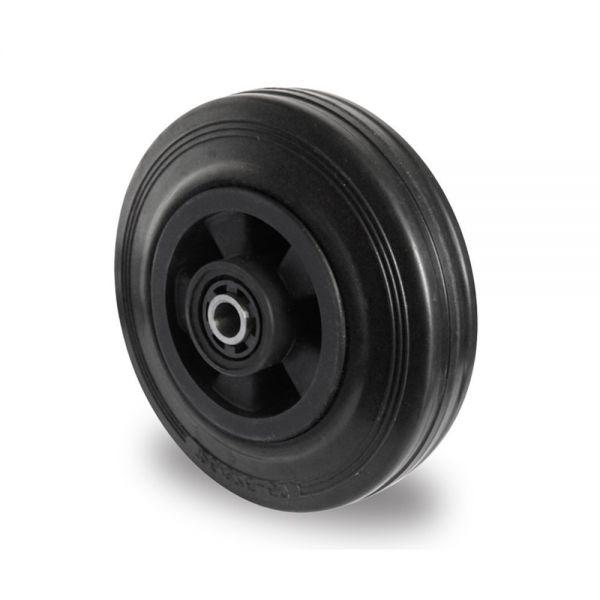 Ersatzrad Transportrad Rad Rolle Einbaurad, Ø 100 mm, Vollgummi, schwarz